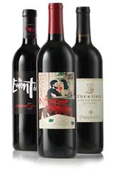 Some of TCM Wine Club's specialty movie-inspired wine bottles.