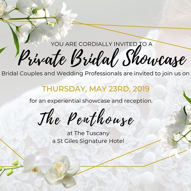 Are you getting married?  Are you a wedding professional?  We've partnered with amazing vendors and will be hosting a private bridal showcase on May 23rd in the Penthouse of the St Giles Hotel. . . . . #weddings #weddingshowcase #weddingevent #weddingsnyc #bride #groom #weddingplanners #weddingcoordinators #bridalcouple #weddingprofessionals