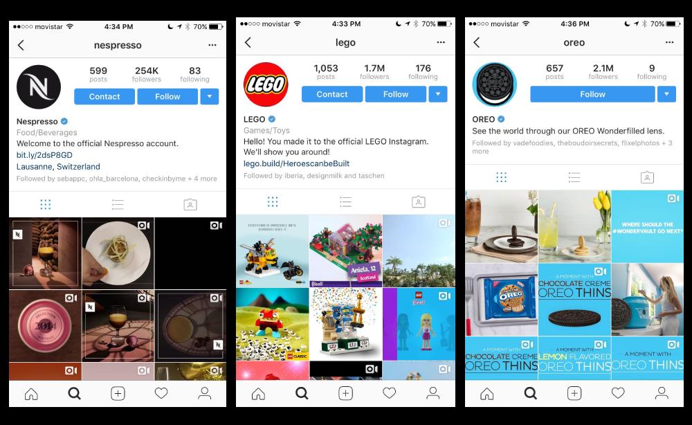 Instagram video examples:  Nespresso ,  Lego ,  Oreo