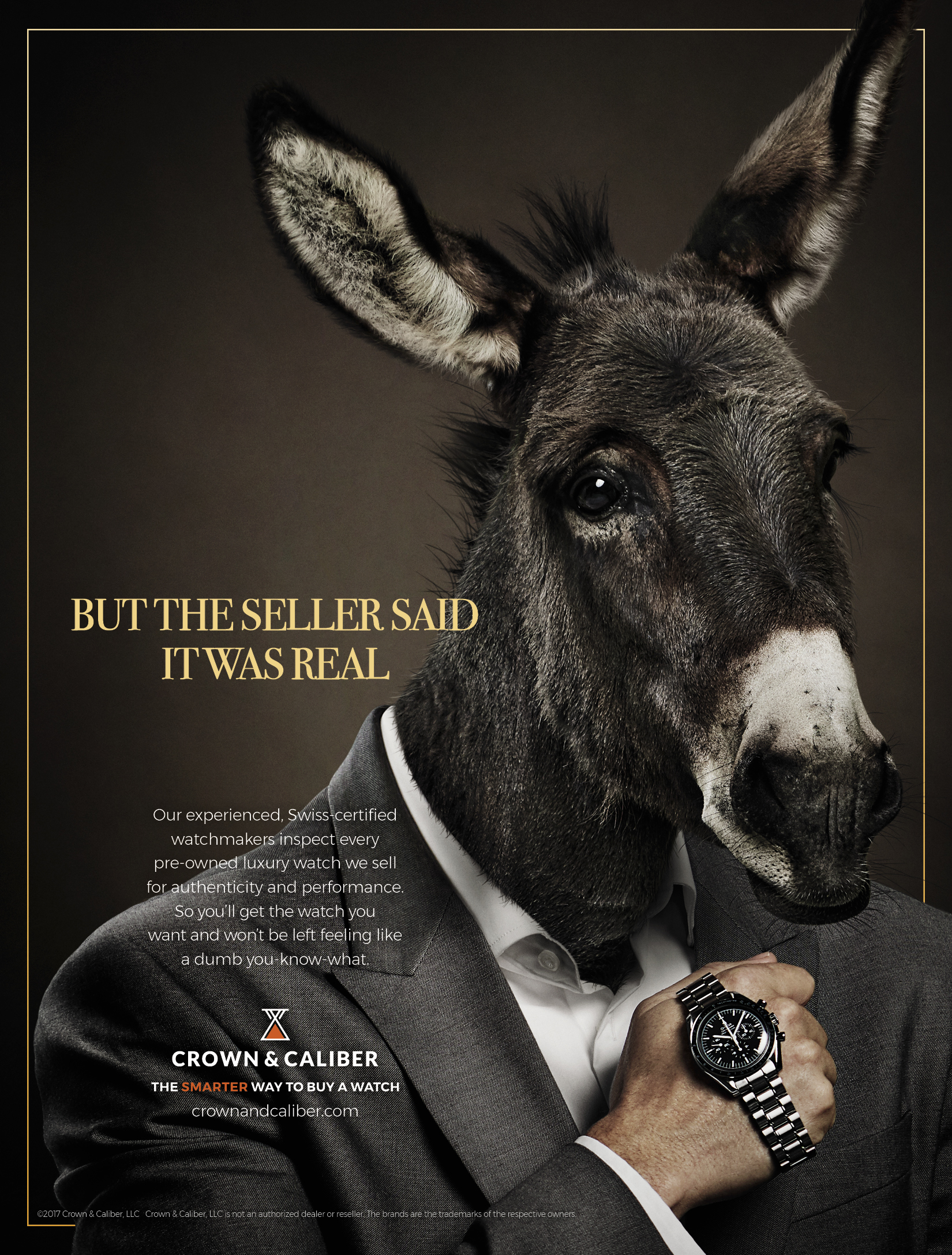 "BarberWarren Crown & Caliber ""Dumbass"" print ad"