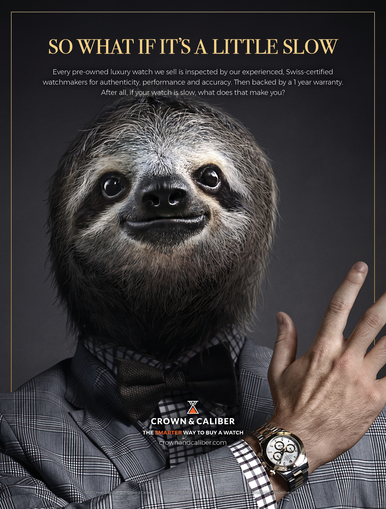 "BarberWarren Crown & Caliber ""Sloth"" print ad"