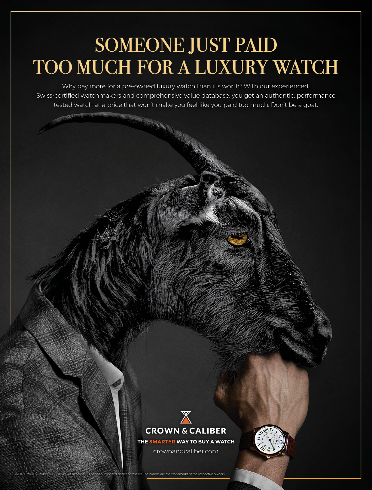 "BarberWarren Crown & Caliber ""Goat"" print ad"