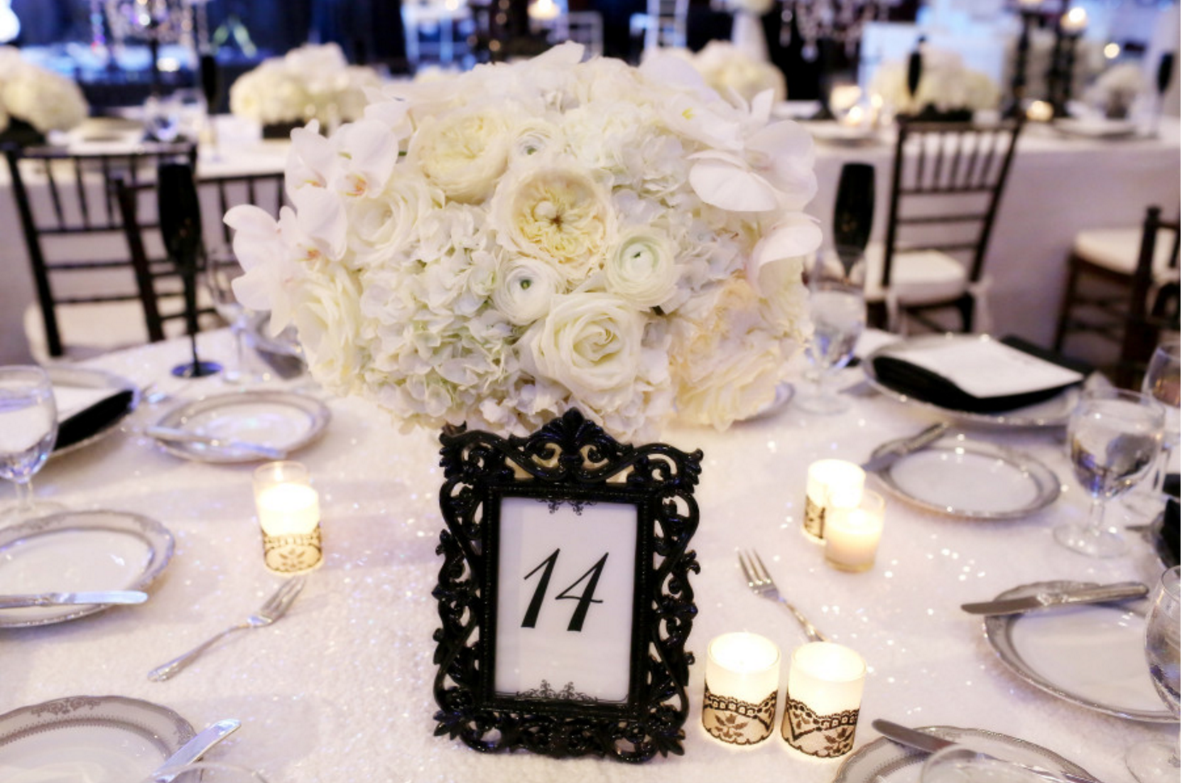 reception details on round tablescape