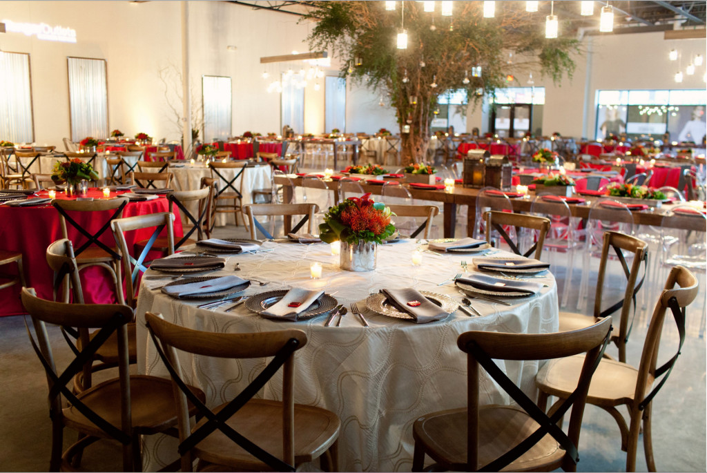 Grand Rapids, Michigan Beautiful Modern Event with Wood Tables and Chairs
