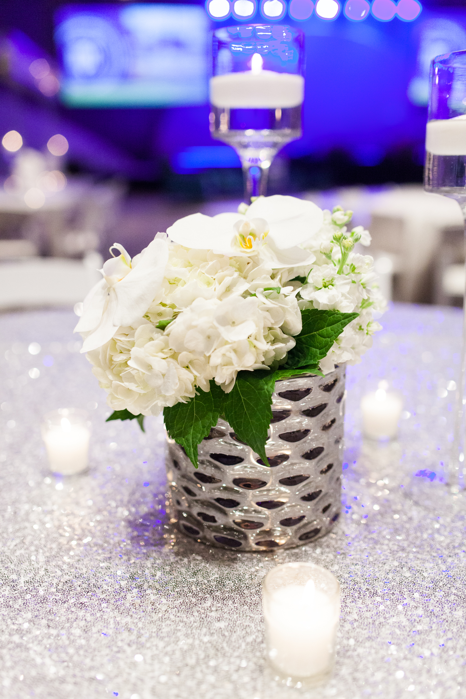 Amway Event in Grand Rapids with Silver and White Floral Arrangements