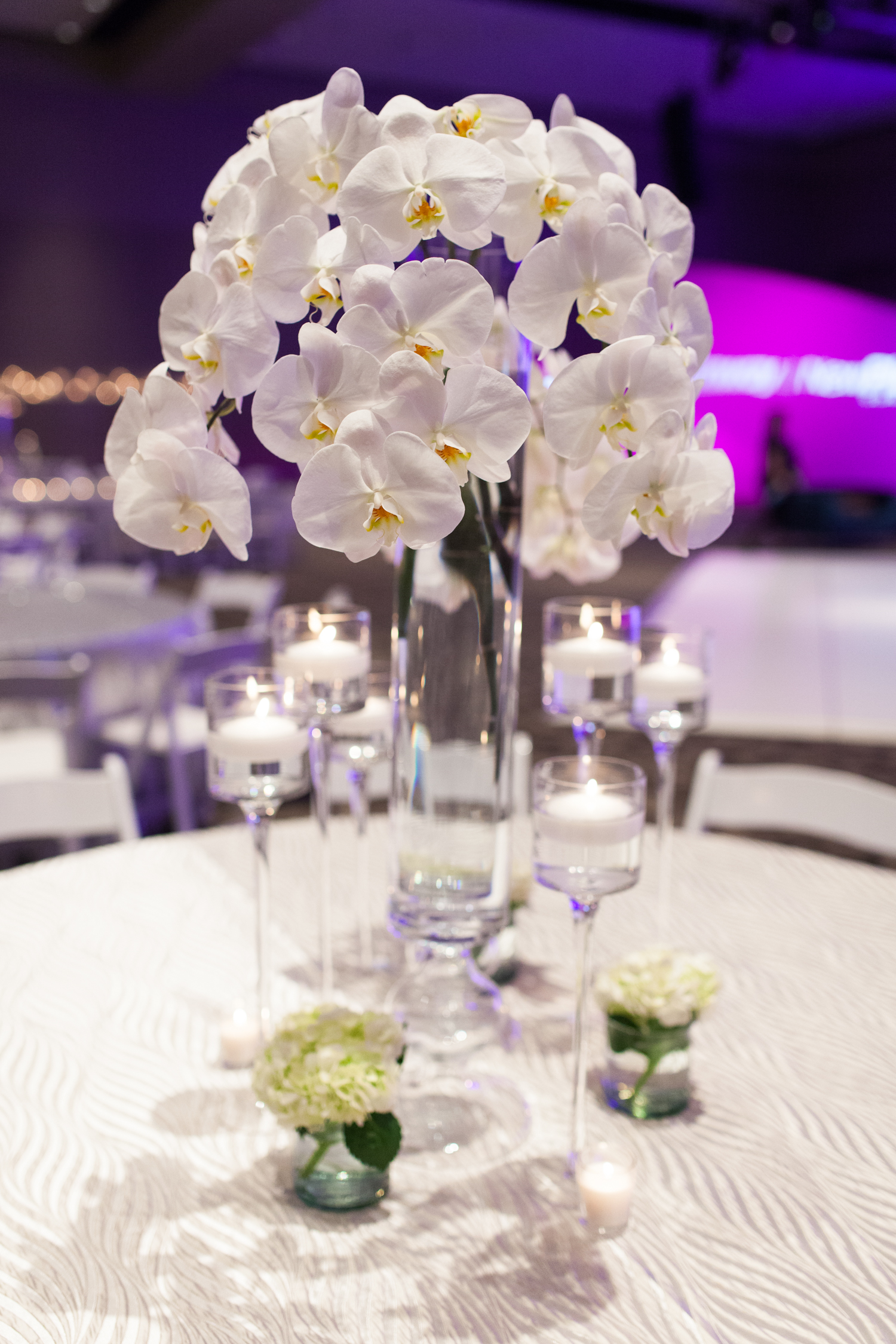 DeVos Place Event with Large Orchid Centerpieces