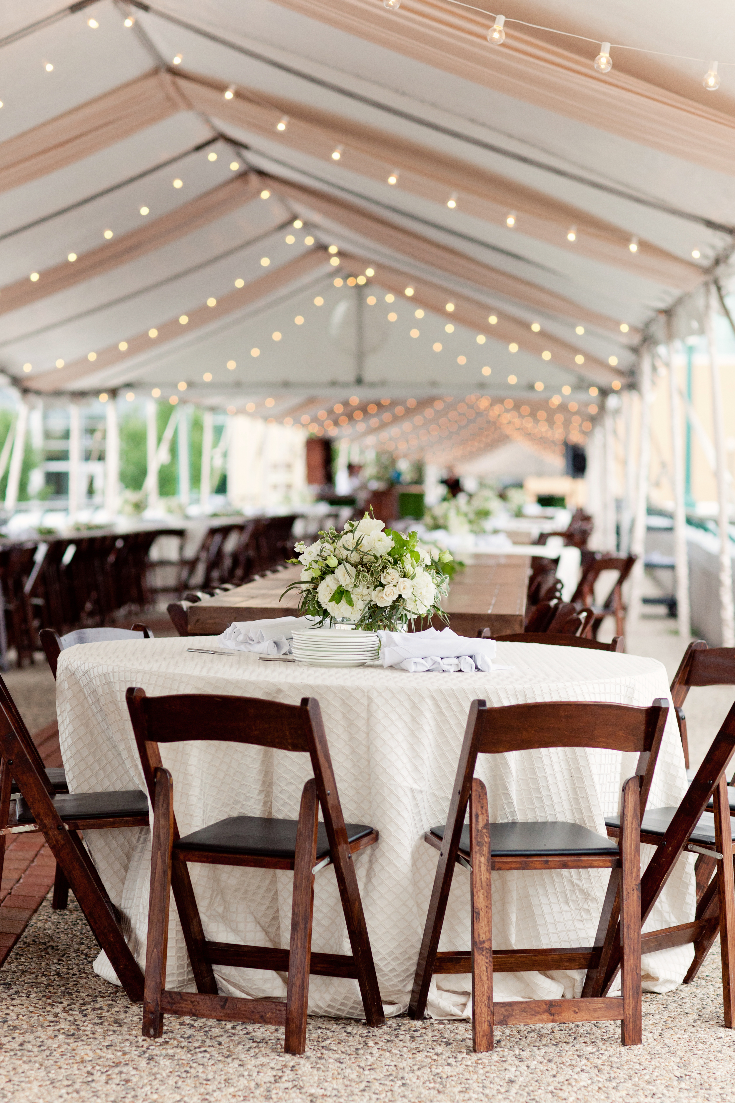 Gillette Bridge Tented Event with Bulb String Lights