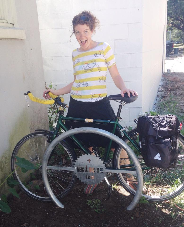 Tina is a long time bicycle advocate and former Board Member of Bike Baton Rouge. She practices and teaches many things, including Yoga, Massage and Pottery.