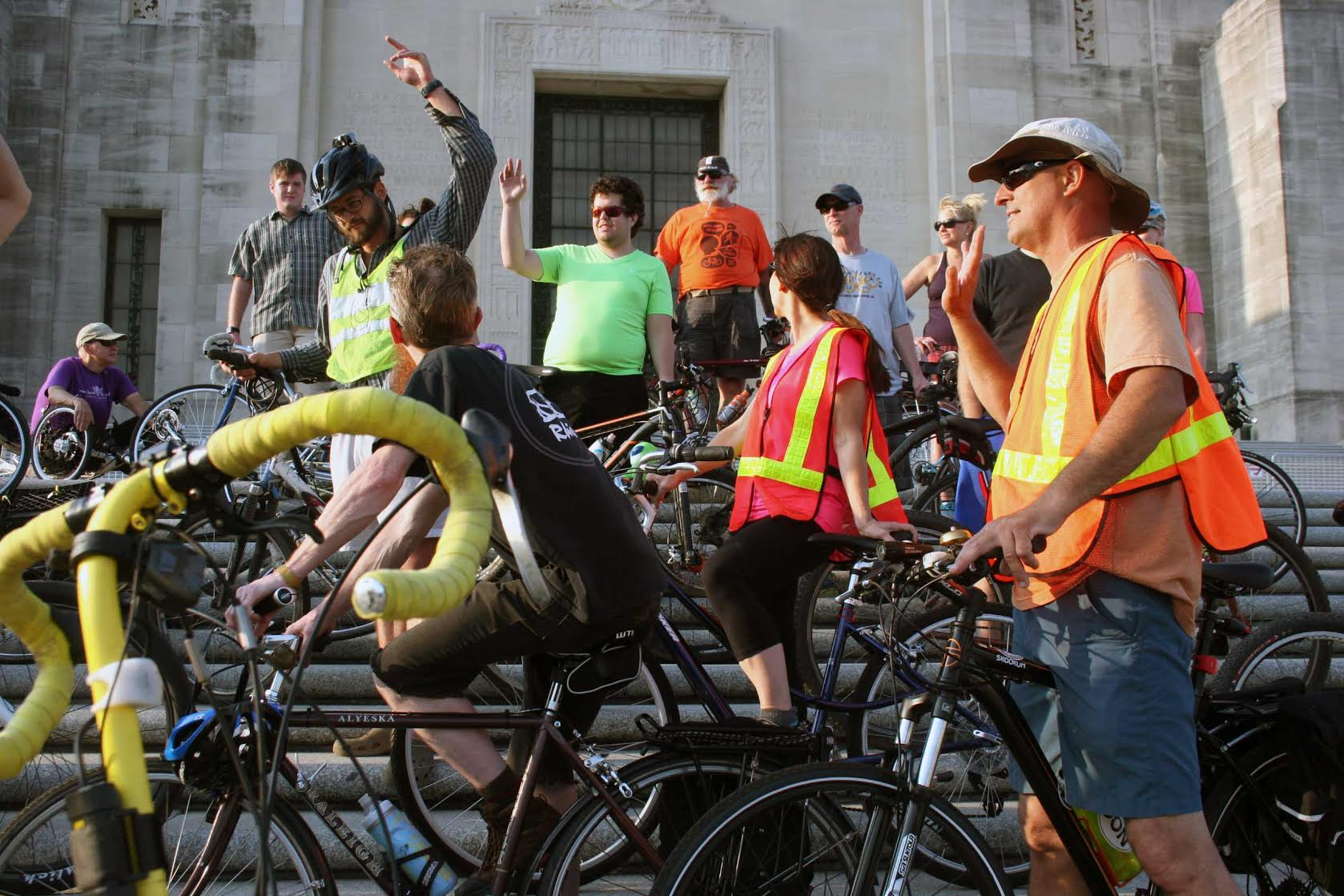 Bike Baton Rouge members and volunteers at the State Capitol in April 2016
