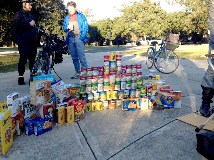 Food donated to the Greater Baton Rouge food bank through the Cranksgiving scavenger hunt in 2016.