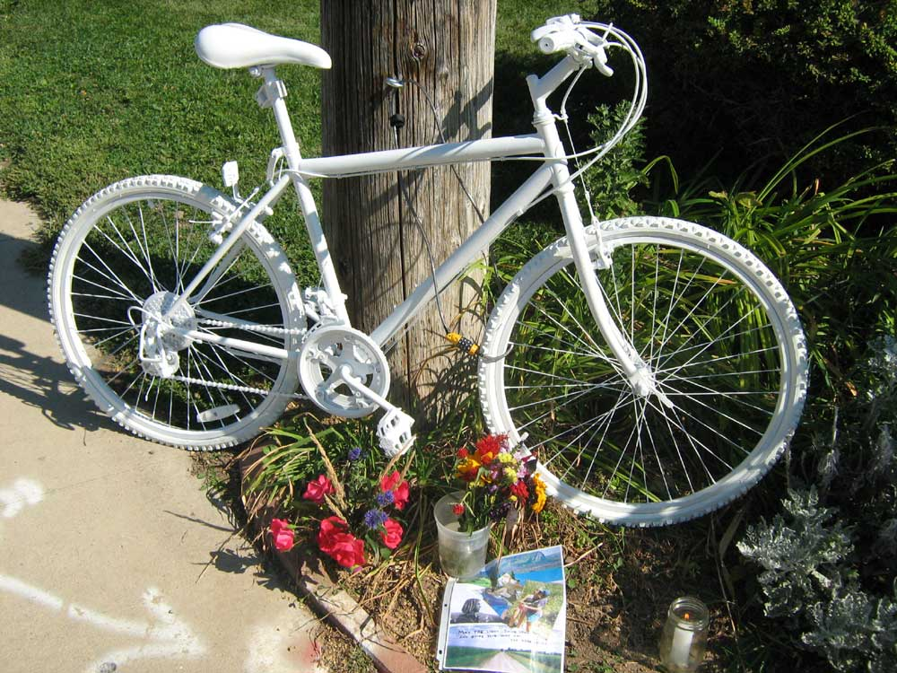 """Bike Baton Rouge leads memorial rides to commemorate cyclists killed on the road. Bicycles painted white (""""ghost bikes"""") serve as memorials where a cyclist was hit and killed. Photo: ghostbikes.org"""