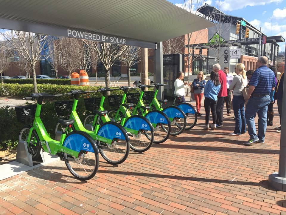 Bike Share station in Birmingham, Alabama