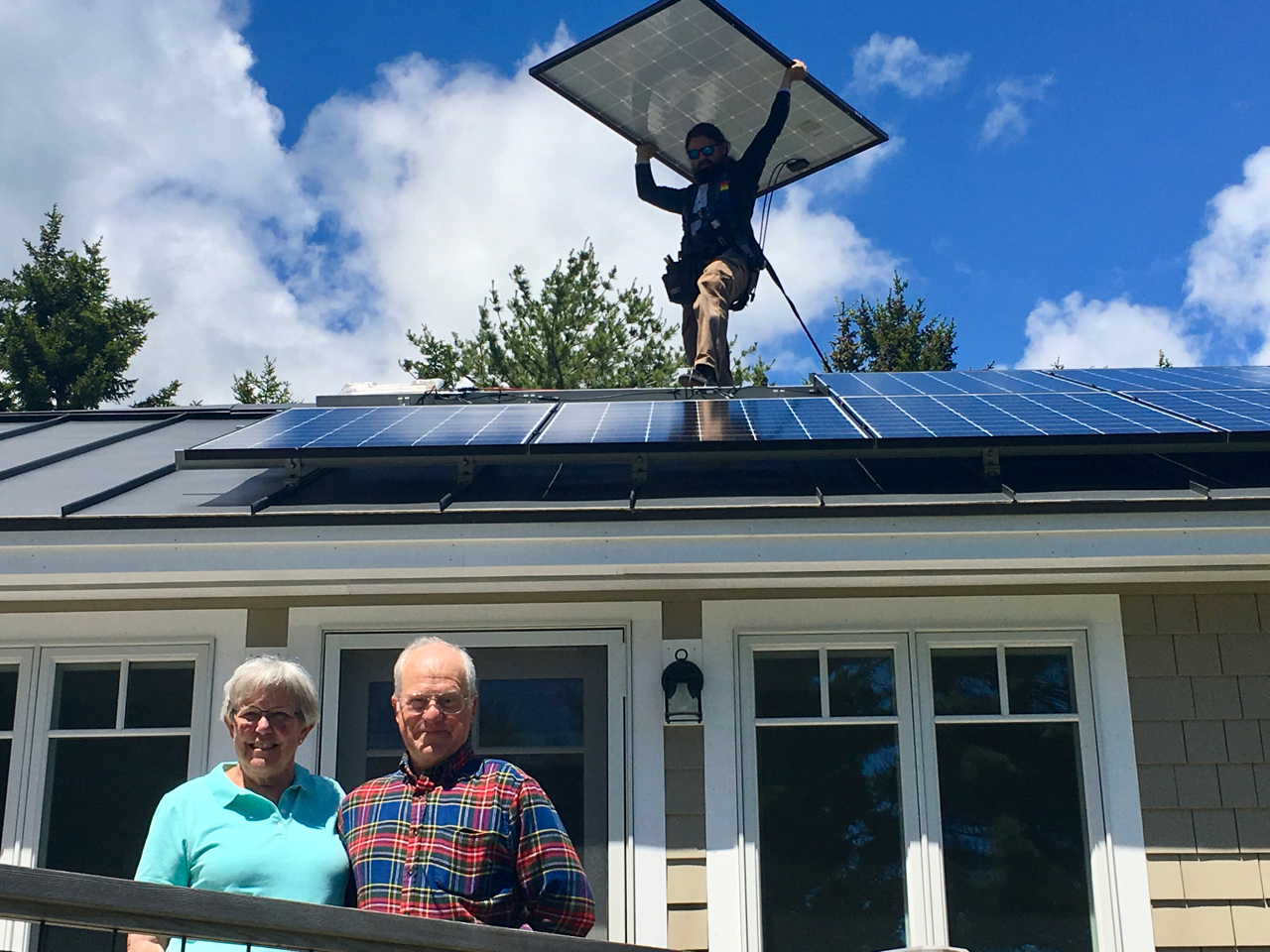 Sample System 6 kW - Sample system size: 6 kilowattsCurrent electric bill ~ $95/monthInstallation cost: $16,140Federal tax credit: $4,842System cost: $11,298Potential Solarize MDI savings: $1,500 if we achieve our goalTier 5 Cost: $9,798 - once Solarize MDI hits 200kW total25 year warranty and 30+ year life expectancyLeft: As part of Solarize MDI, Leza and Jim Colquhoun were thrilled to see their solar panels installed on their Southwest Harbor home that was once Leza's parent's cottage. The exciting part was when it immediately produced over 5,000 kW of electricity and the meter ran backward.