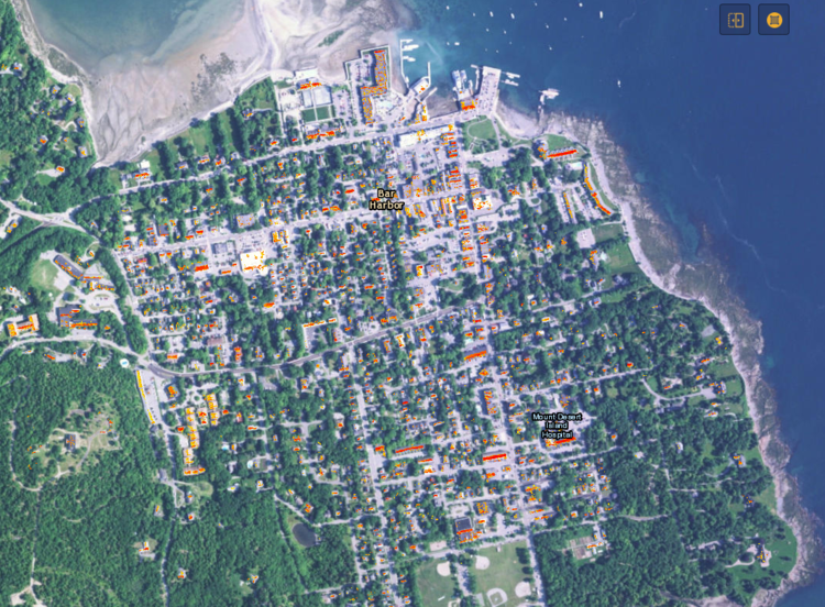This web application was created by College of the Atlantic student Wade Lyman in 2010 using ESRI software at the COA GIS Laboratory. The data in the map were attained using simulations of annual solar incidence, including the effects of intermittent shading from adjacent topography, structures and trees throughout the year. This allowed for relatively precise, high resolution estimations of solar technology performance on every roof.