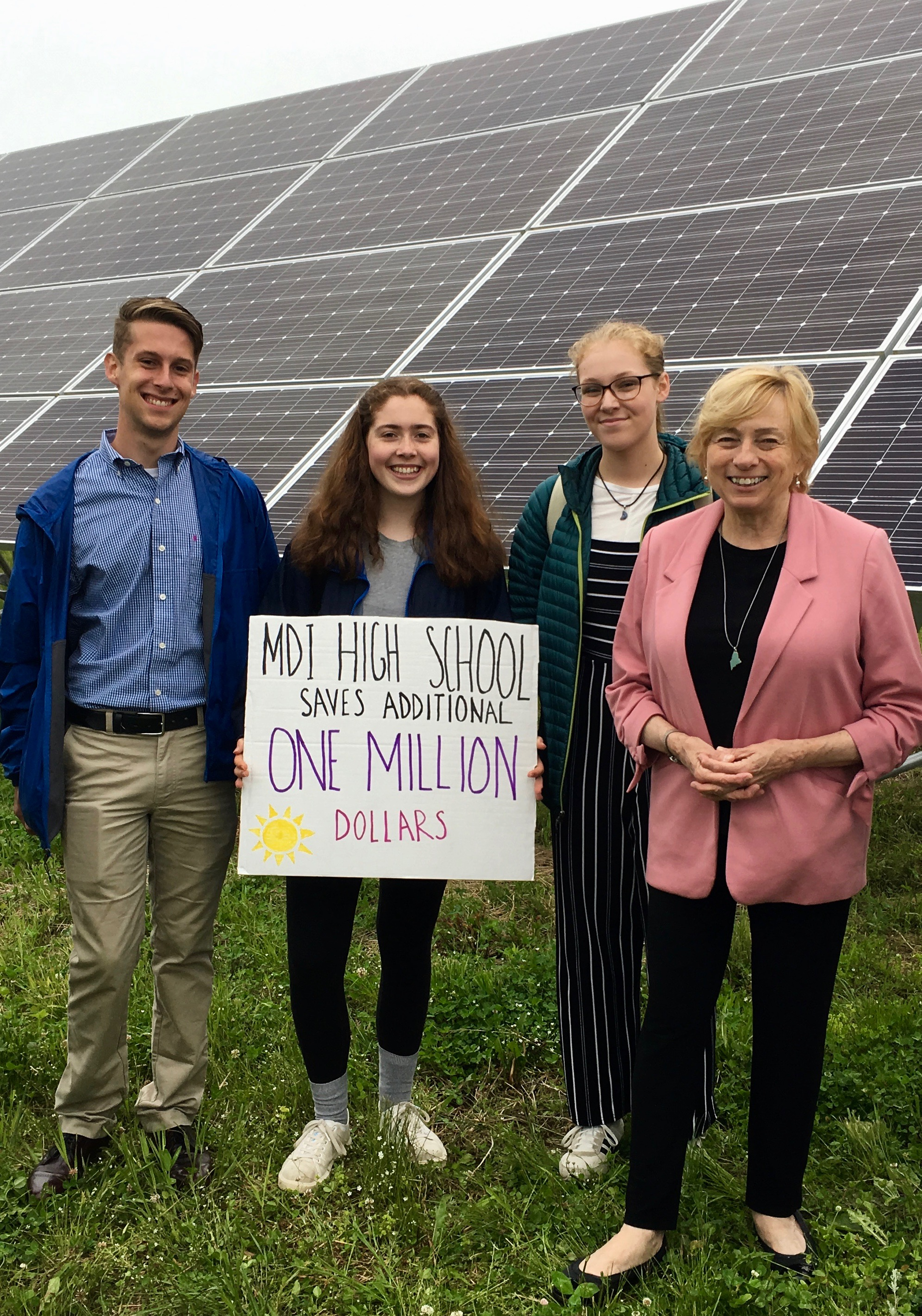 Pictured left to right, ACTT Intern Coordinator Sam Murray, Intern Isabella Childs Michael, Stella Walke, and Governor Janet Mills.