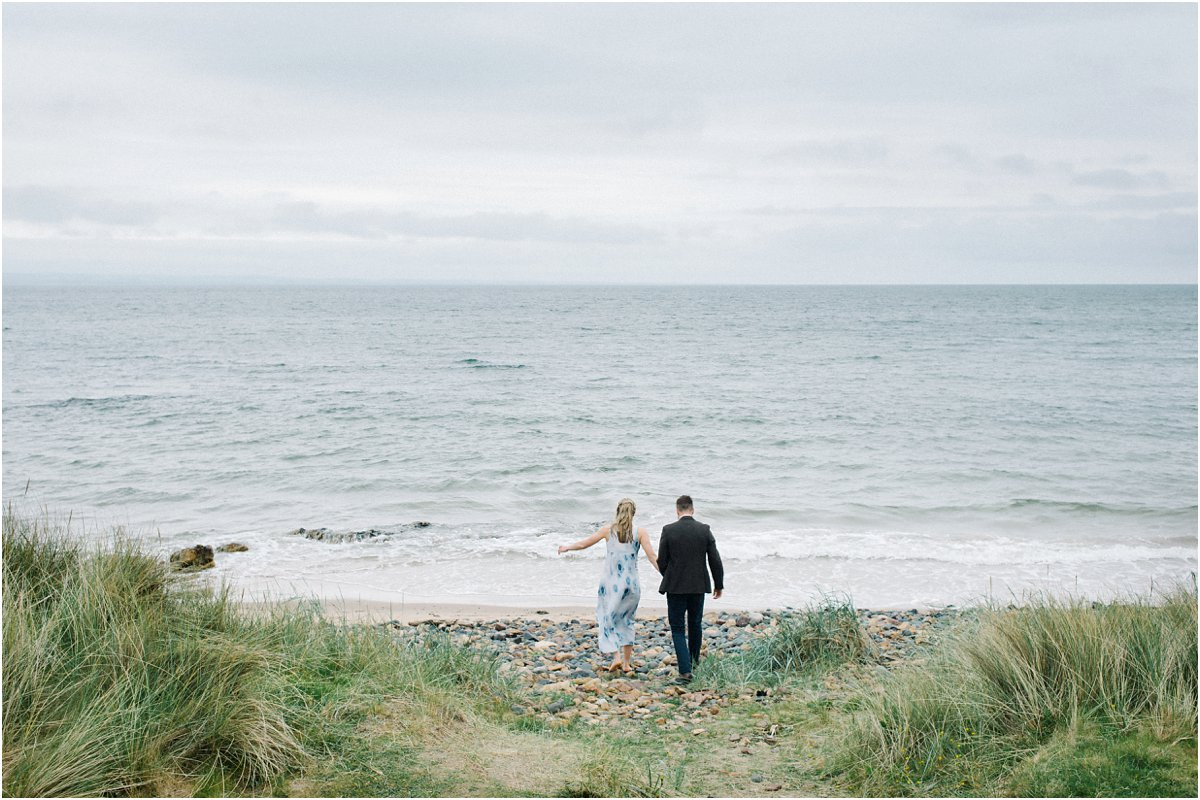 Engagement portraits photography Edinburgh Scotland seaside