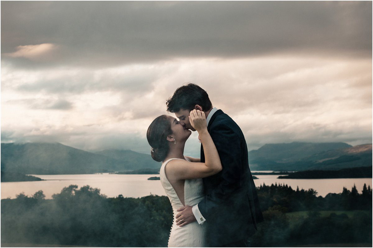Romantic and tender wedding couple portraits during sunset in the landscape by Cro & Kow