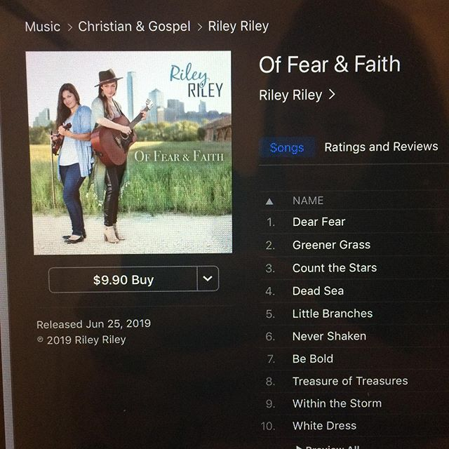 """IT'S HERE!!!!!! """"Of Fear & Faith"""" is now available everywhere!!! Thank you to all our friends and family and amazing fans who have supported us through this project!! We love yall!! #newmusic #newalbum #newrelease #rileyriley #offearandfaith #ccm"""