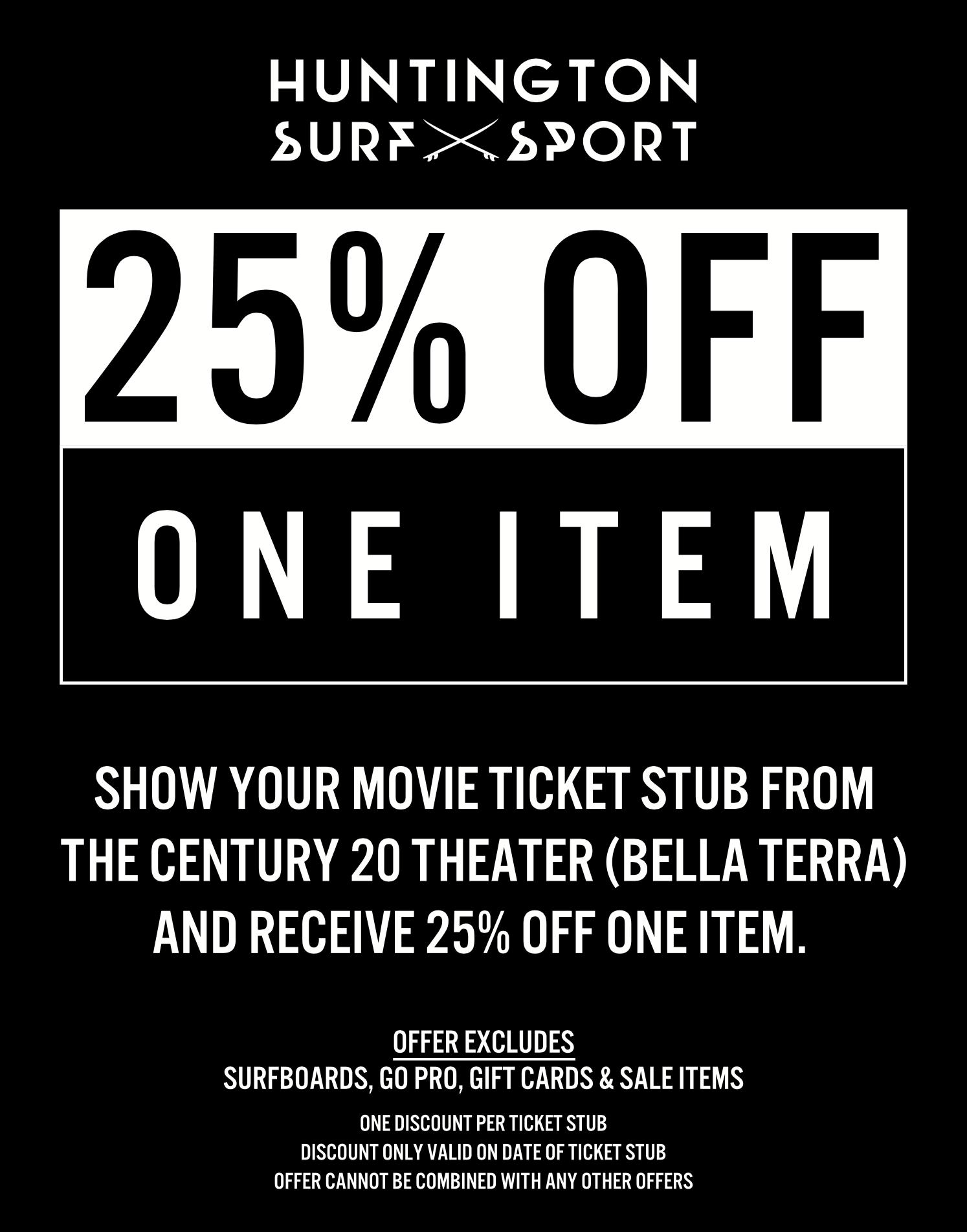 HSS 25% OFF One Item - Century Movie Ticket
