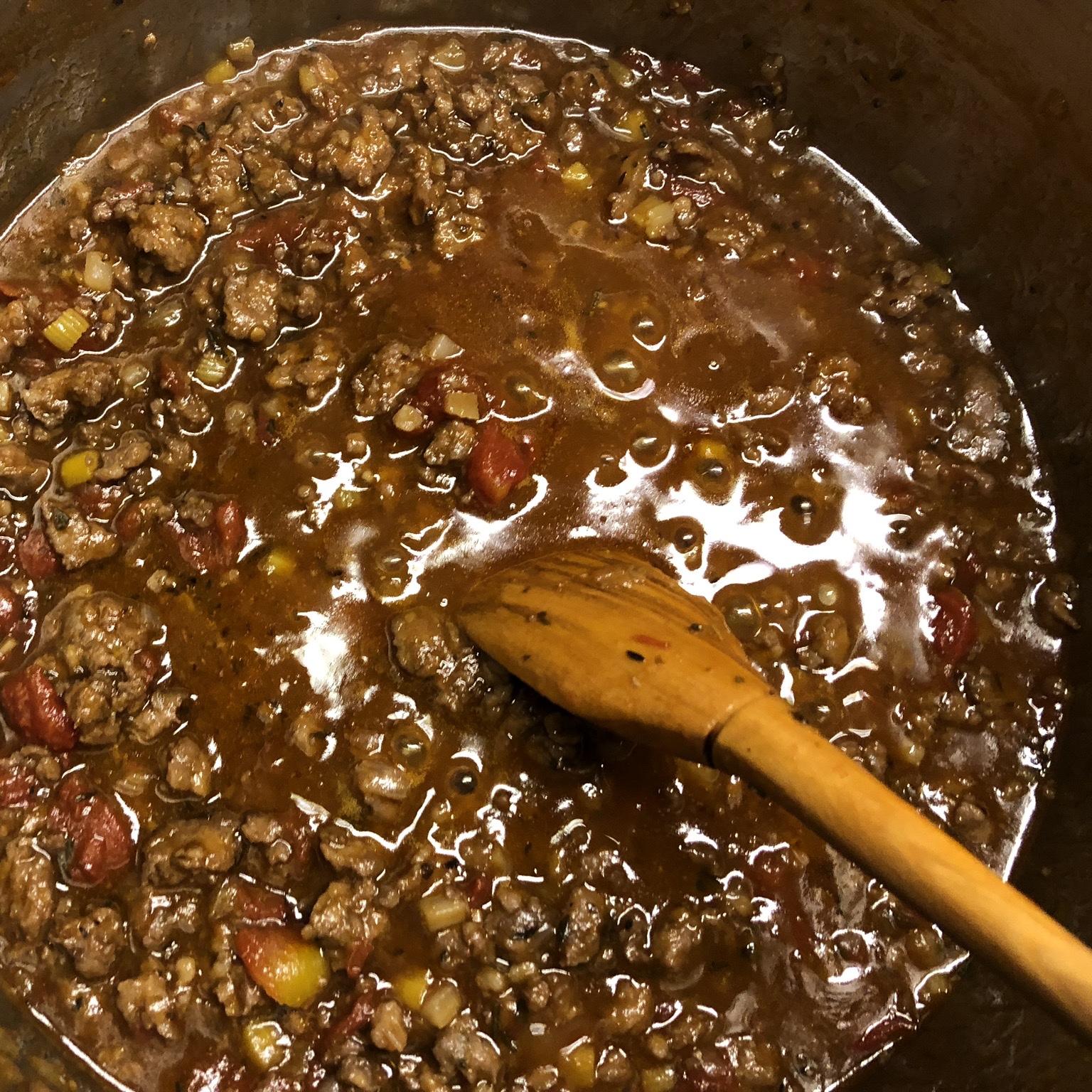 Cooking the Sausage Ragu