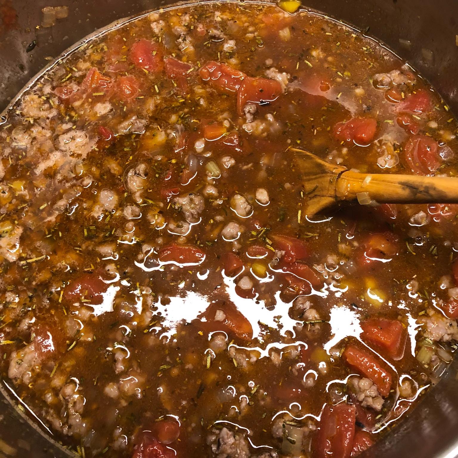 Cooking the ragu