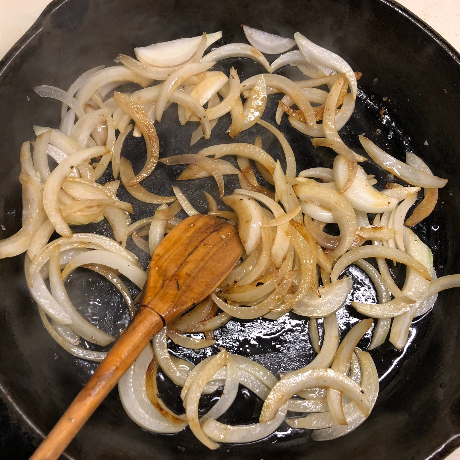Cooking the onions