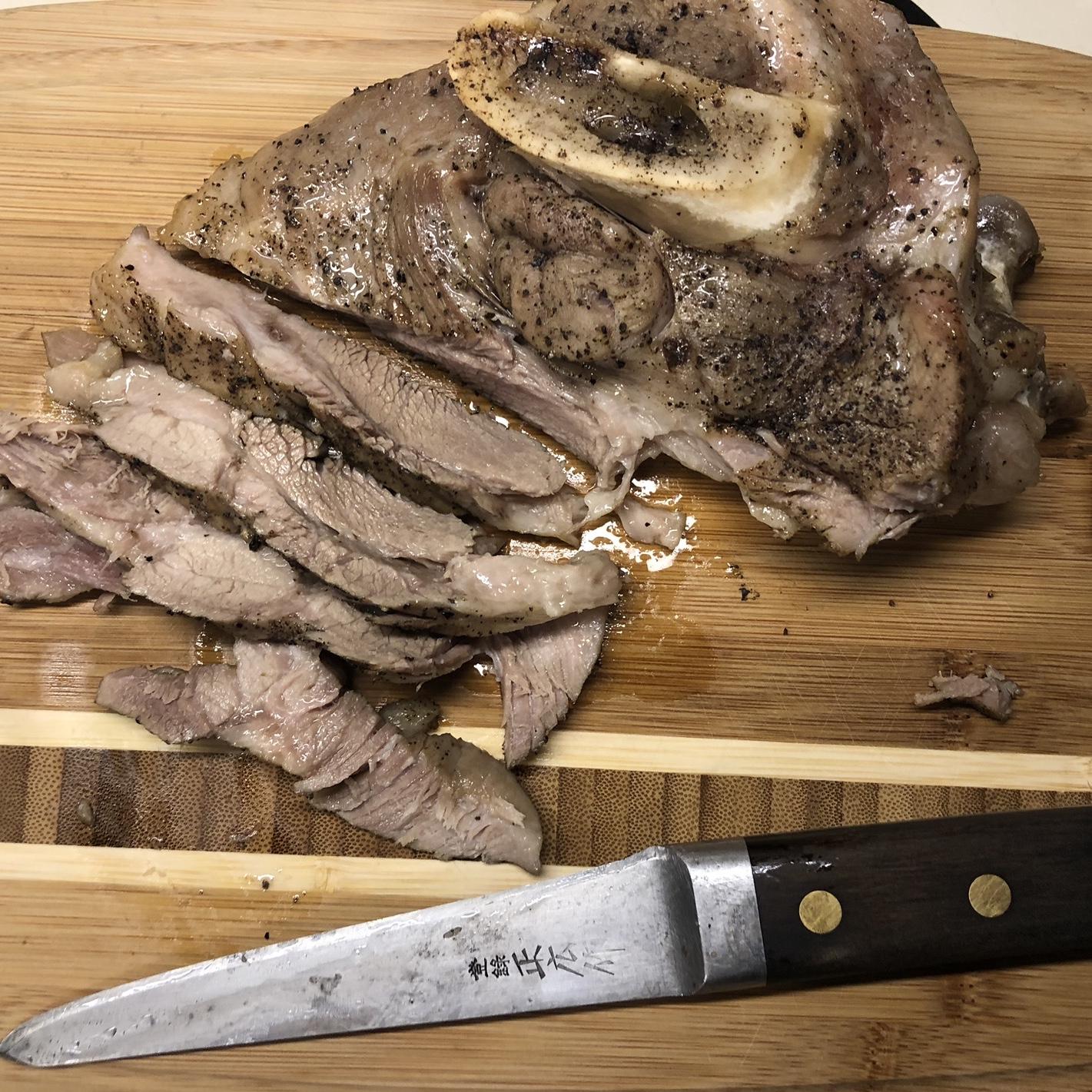Slicing the Corned Pork Shoulder