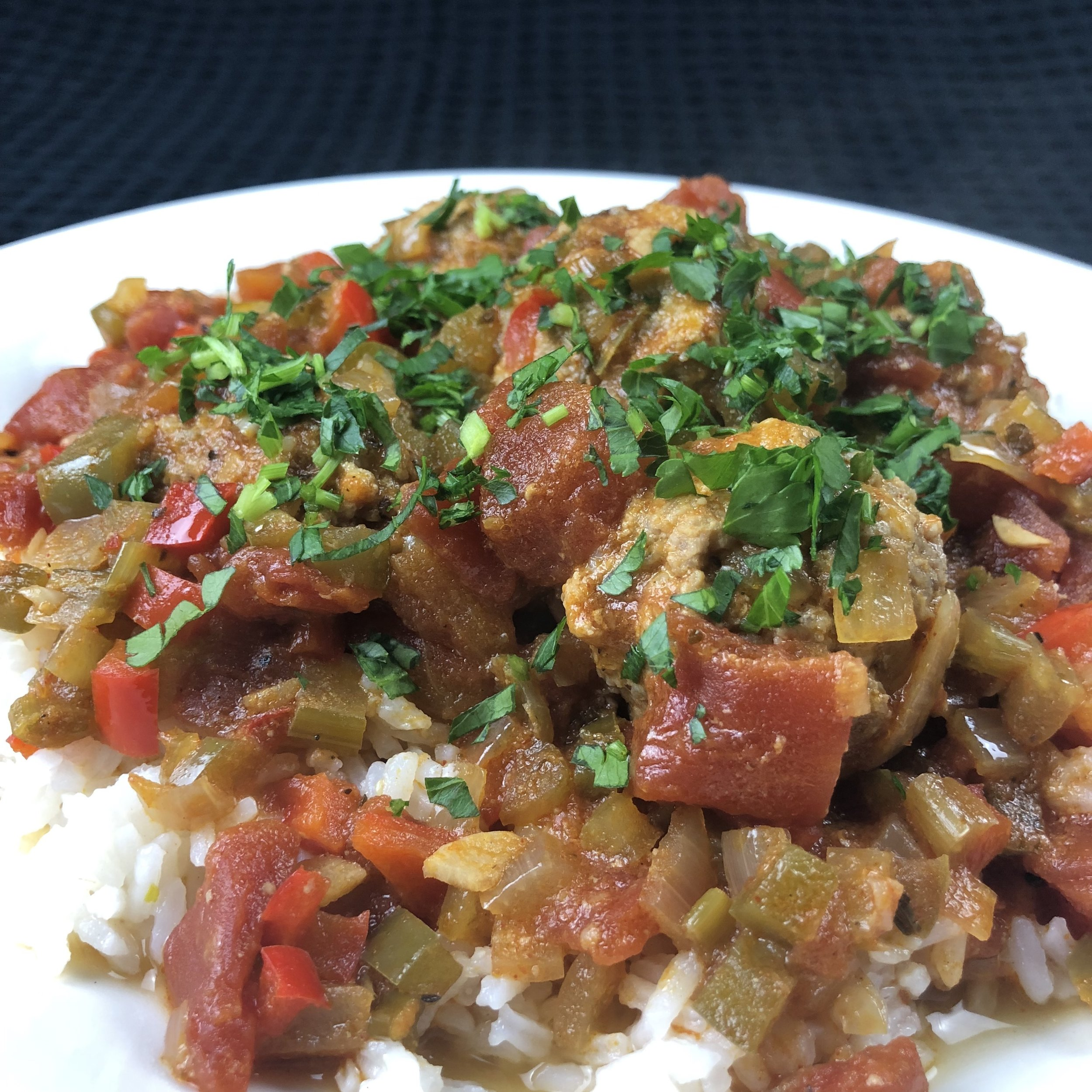 Sauce Piquant with Meatballs and Rice