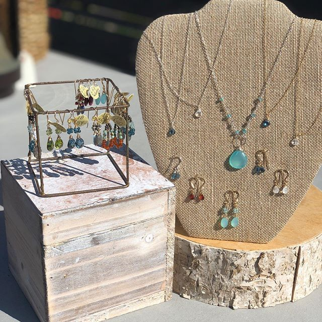 autumn sunshine is showing off this gemstone jewelry by @judybrandonjewelry that Terri and Ann found this month at NW Market #finnesterre #manzanitabeach #autumnsun #jewelry