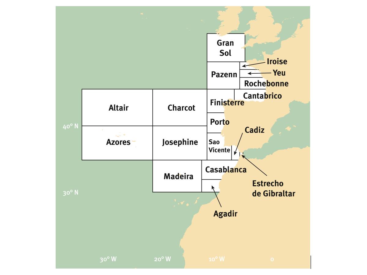 Zones météo Atlantique est (source: Guide Marine 2016)
