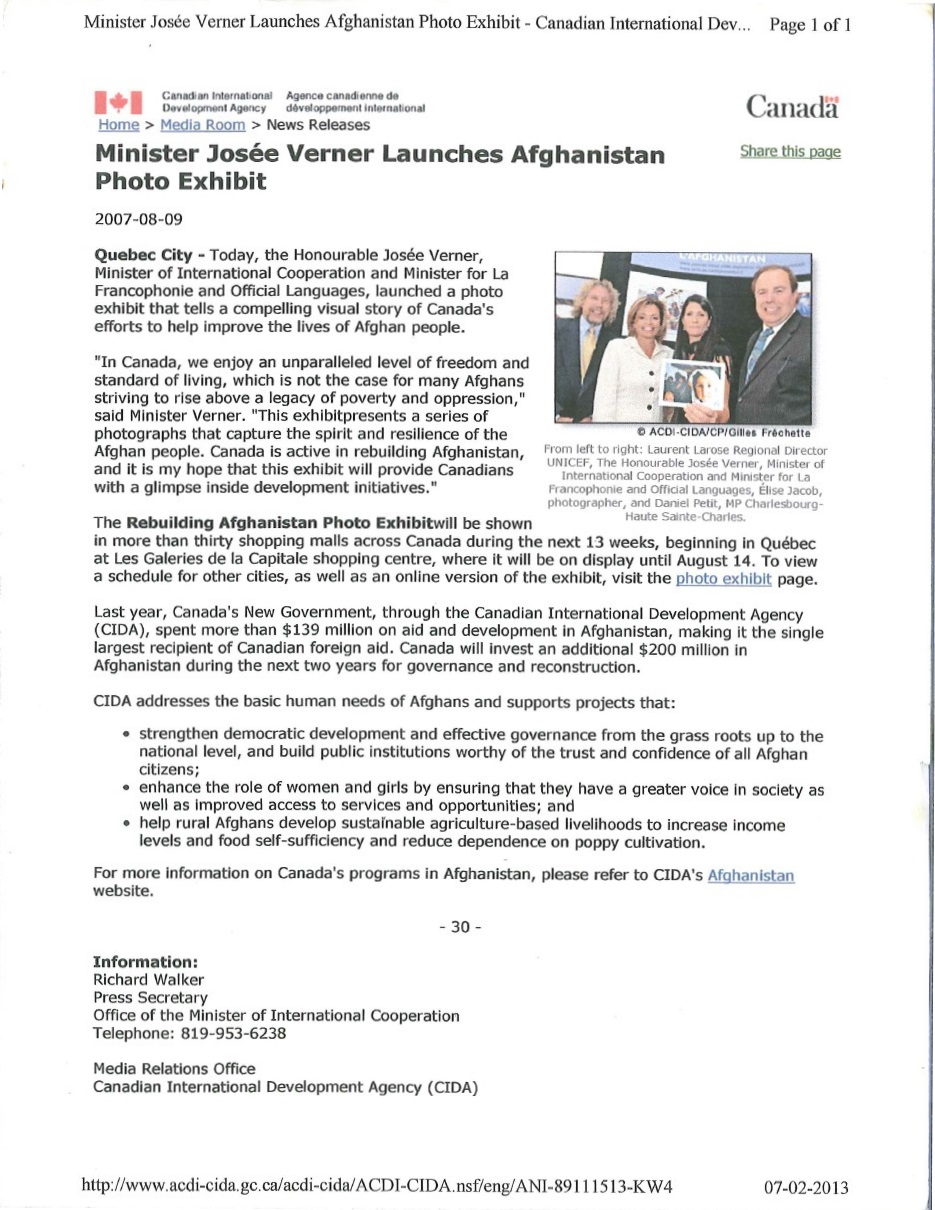 Canadian Government: Exhibition on Afghanistan