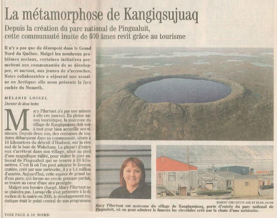 Le Devoir: La métamorphose de Kangiqsujuaq