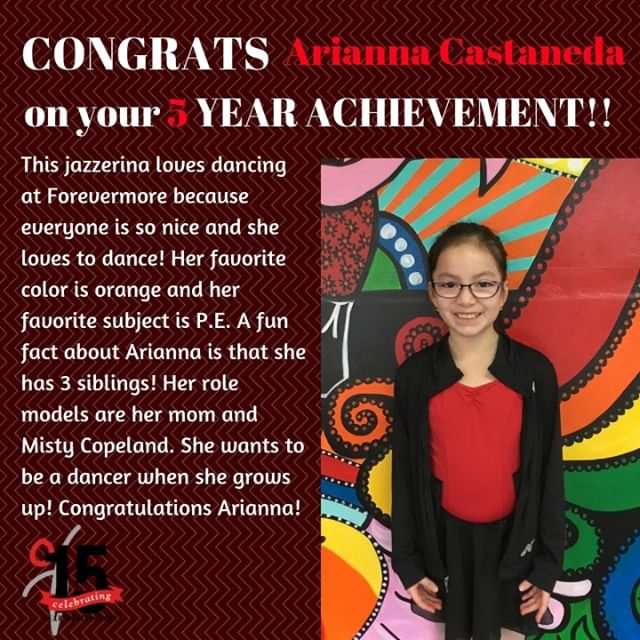 Congratulations to Arianna on 5 years at Forevermore! We are so proud of you and all that you have accomplished!