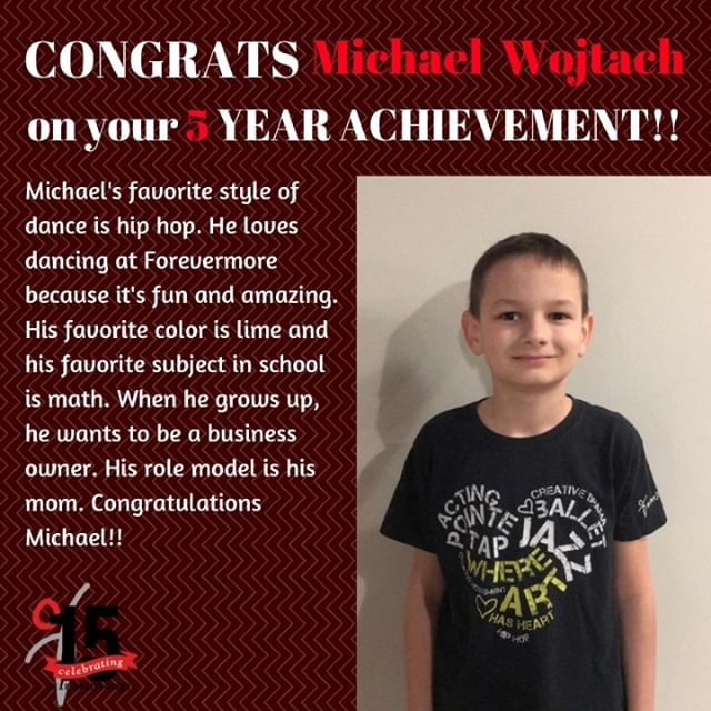 Wishing Michael a great big Congratulations on 5 years here at Forevermore! Keep on dancing!