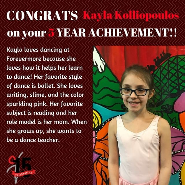 Congratulations Kayla on your 5 year achievement! We are so proud of everything you accomplished!
