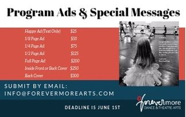 June 1st is the last day to put an ad or a special message in our recital programs!