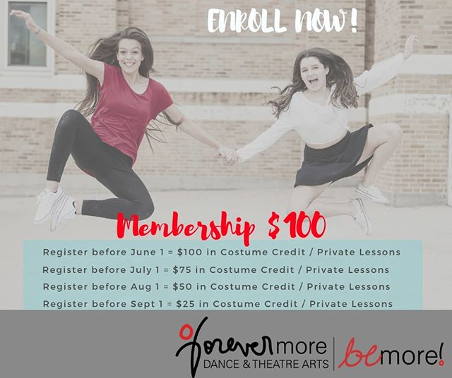 Don't forget to register before June 1st to get your $100 Membership back in a Costume or Private Lesson Credit