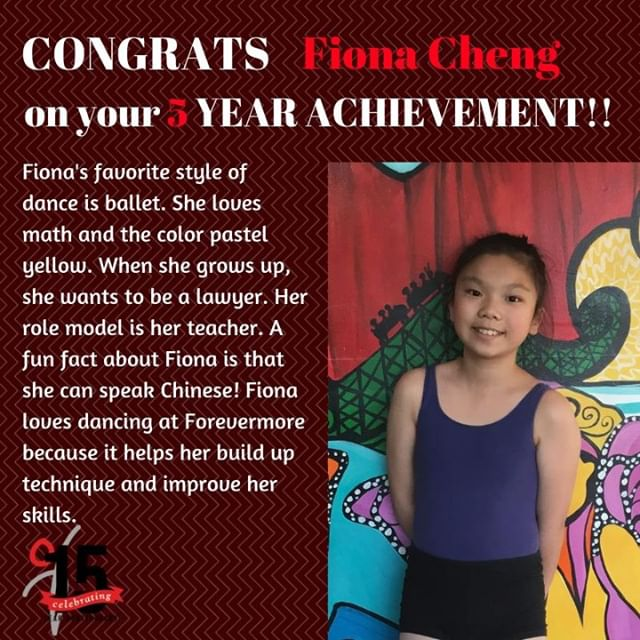 Congratulations Fiona on your 5 year achievement! We are so proud of all that you have done!