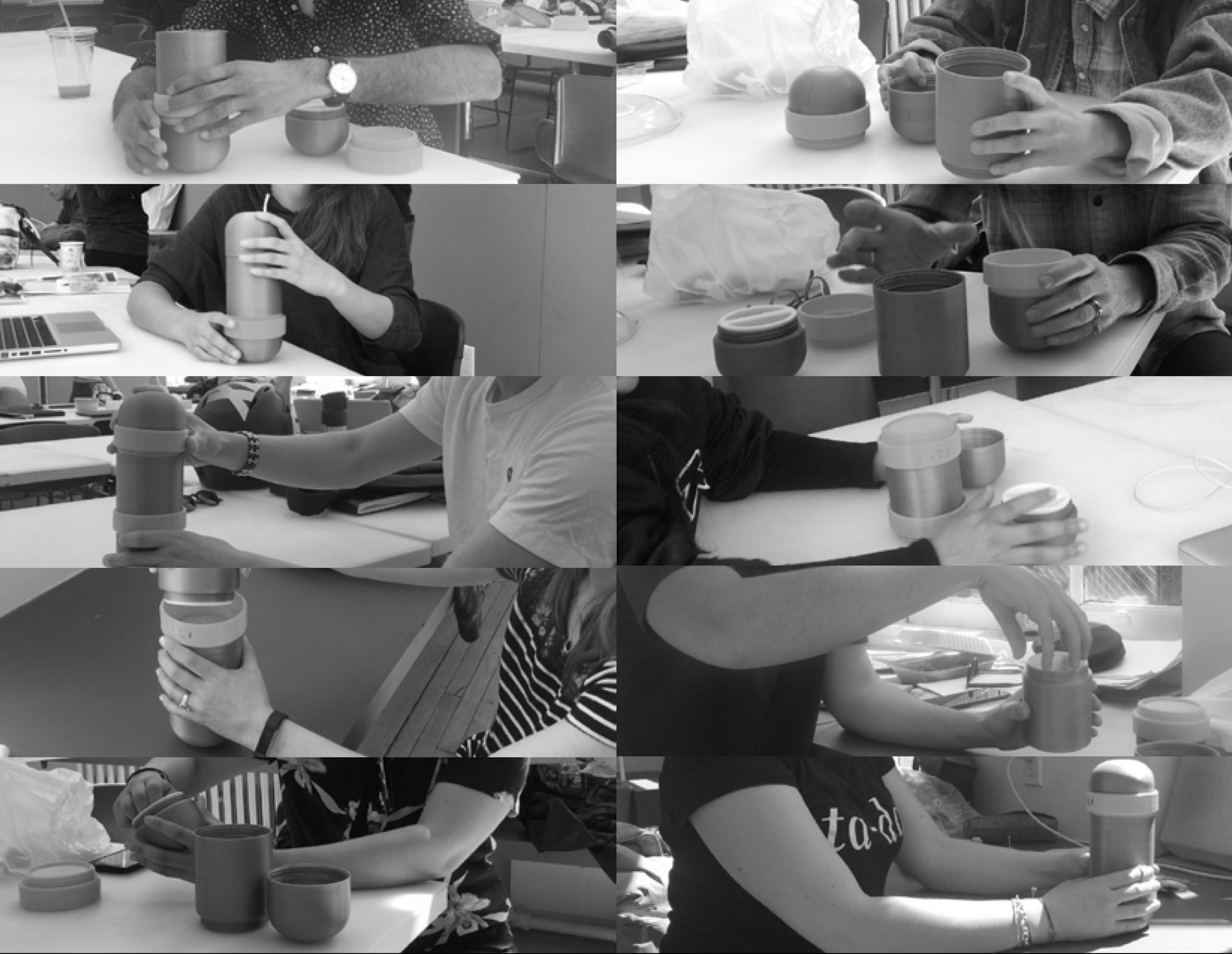 PHOTO STILLS OF USER TESTING WITH OLD 3D PRINTED PROTOTYPES