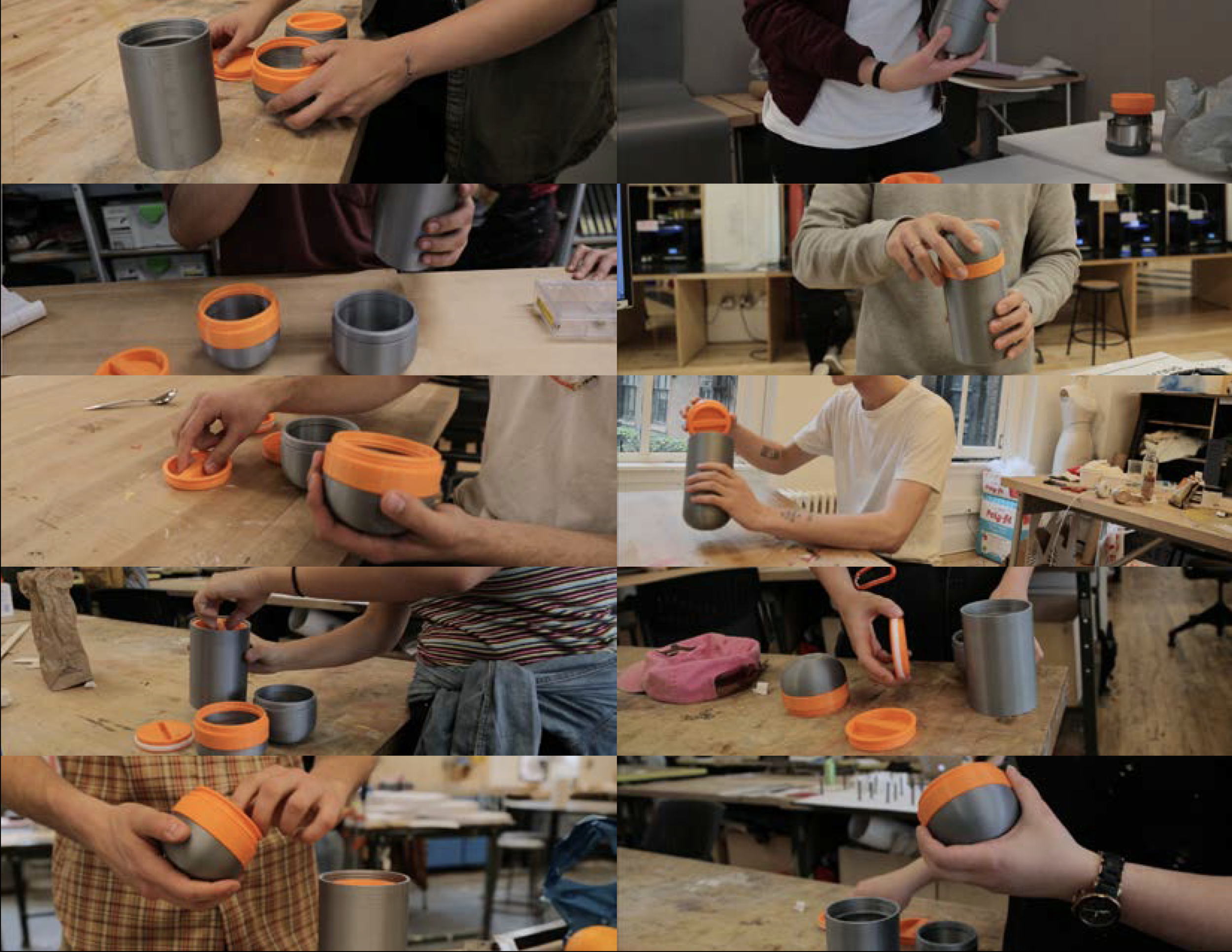 PHOTO STILLS OF USER TESTING WITH MOST RECENT 3D PRINTED PROTOTYPE