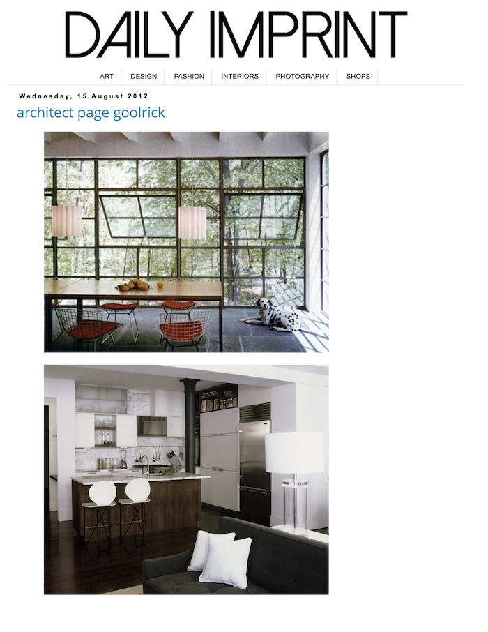<html>Daily Imprint<p>Architect Page Goolrick</html>