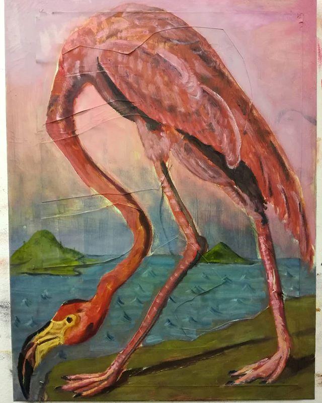 Bird spotting on flamingo island  #painting #oil #bird #island #flamingo
