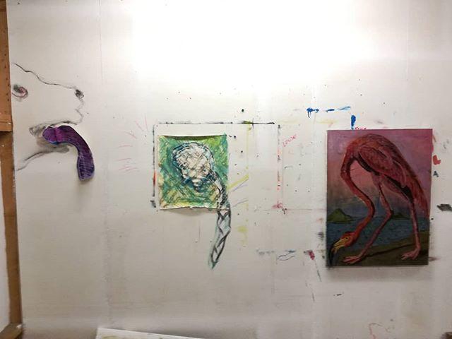 Dog, wig, flamingo  #painting #studiowall #wig #flamingo