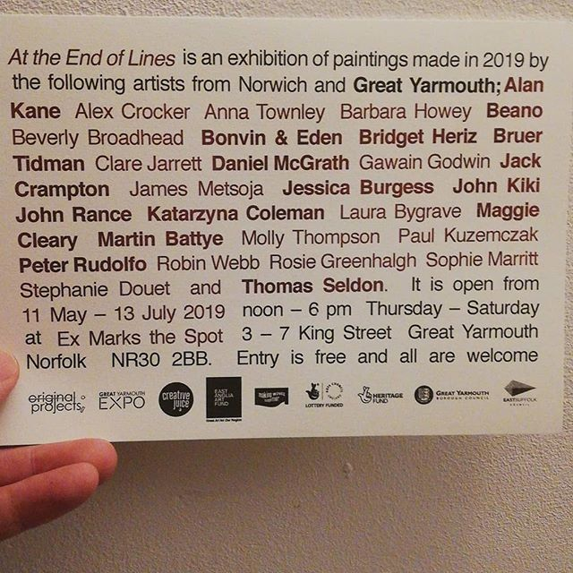 I'm in this painting show in Great Yarmouth, opening Saturday. Come along. Great Yarmouth is GREAT place for a day trip - especially from the big stink!! (They have a train station, among other things)