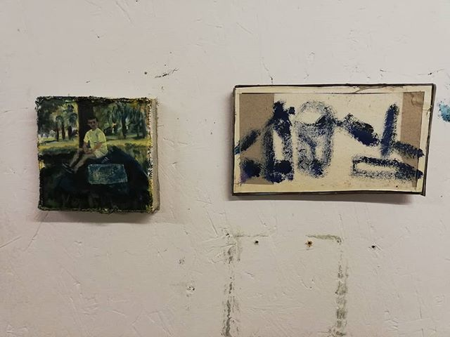 My Dad in Ropka Park and Still Life -  Oil on box and oil on section of book #oilonbox #oilonbook #worsrtrompeloeil #handmadesurface #studio #ropkapark #estonia #stilllife #painting