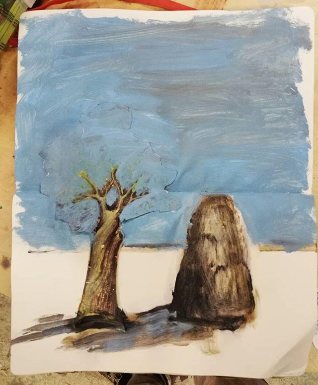 Abandoned Tree And Urn #painting #sketchbook #tree #urn #landscape
