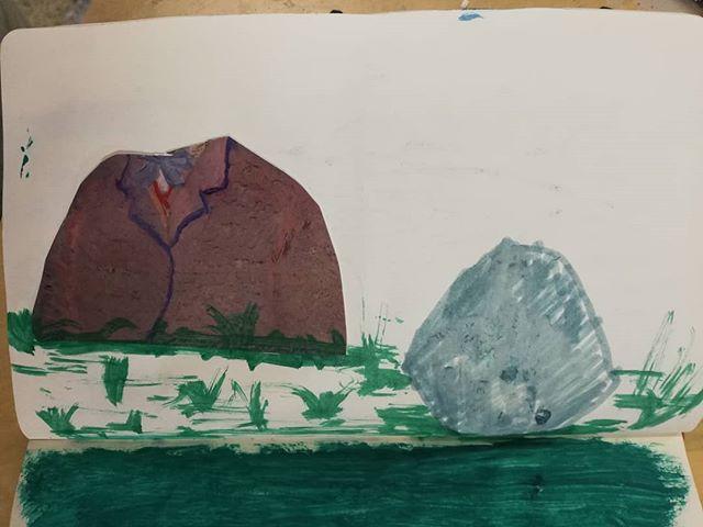 Van Gogh's torso and head (as a rock) in a warm landscape  #painting #landscape #rockhead #sketchbook #vangogh