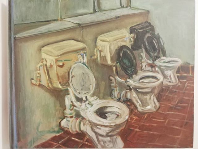 Three bogs (from 2013) #studiotoilets #painting #outpoststudios #oilpainting #sightsize