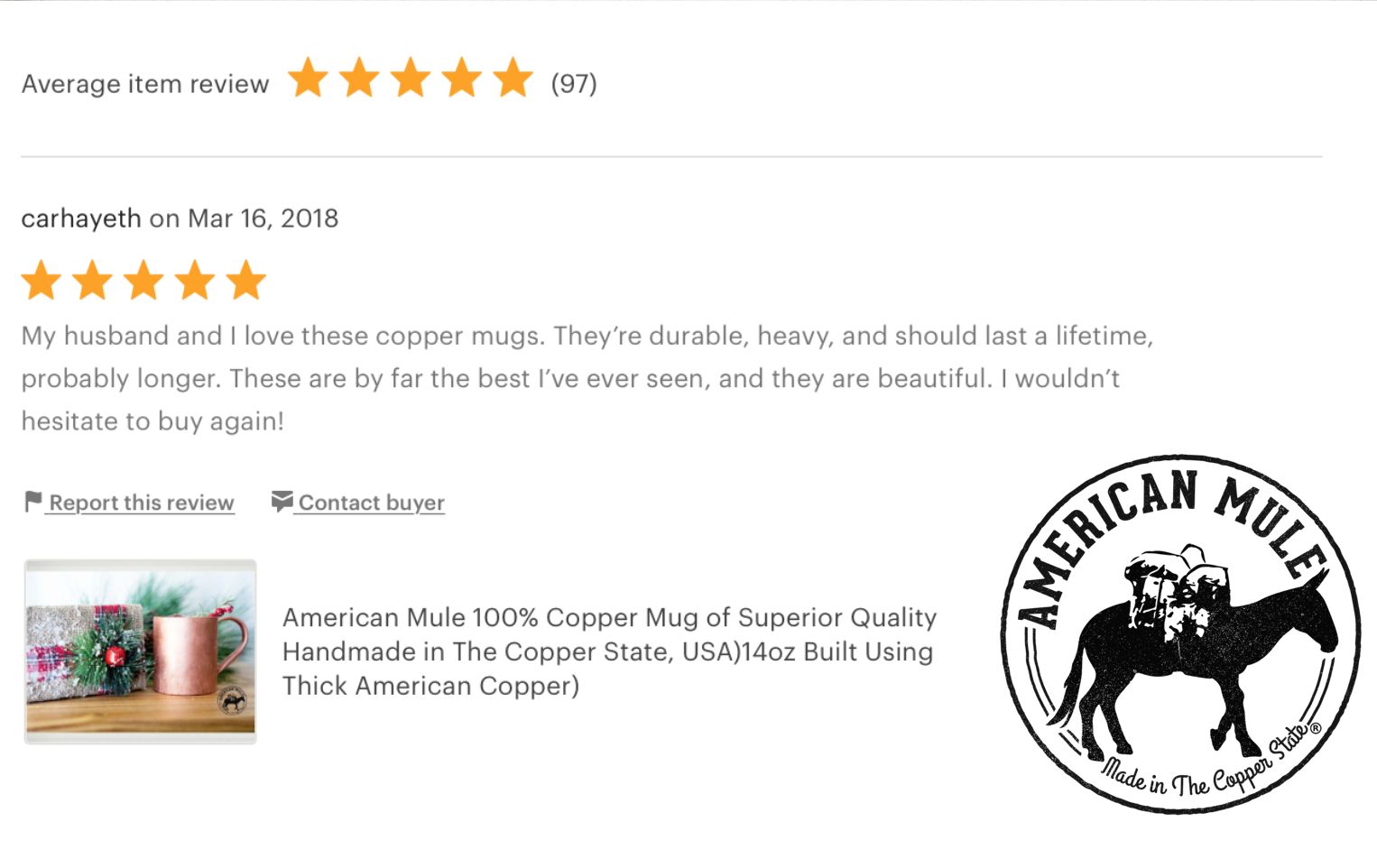 AmericanMuleEtsyReview