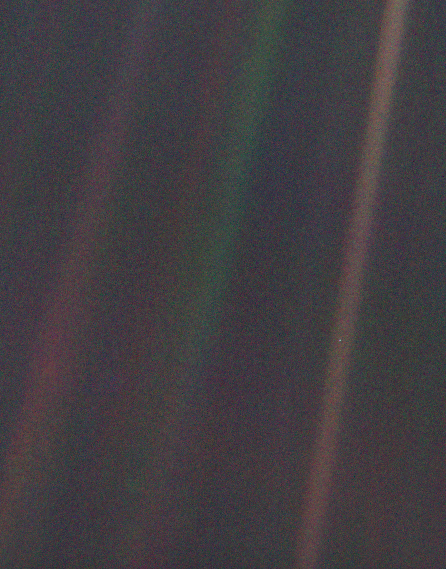 Photo taken from Voyager 1 on its way out of our solar system.